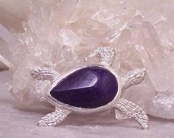 SUGILITE - Sea Turtle Pendant in Stone and Sterling  Silver