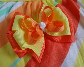 Sunny Citrus Hair Bow - M2MG Boutique Bow - No Slip Velvet Grip Hair Clip