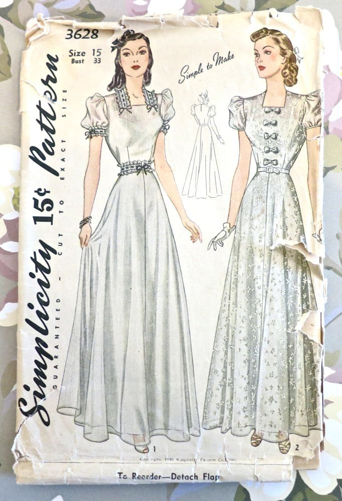 Vintage 1940s womens evening dress pattern with puff for 1940s wedding dress patterns