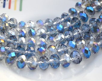 Twilight Blue 12x8mm Faceted Crystal Beads   10