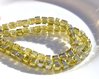 Shimmery Citron Green 4mm Faceted Cube Crystal Beads  20