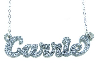 Personalized Acrylic Name Necklace - Sterling Silver Chain (AN001)
