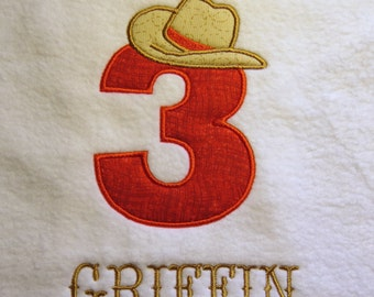 Cowboy Hat on Number 3  Embroidery Designs - 5x7 Frames - CUSTOM REQUEST WELCOME