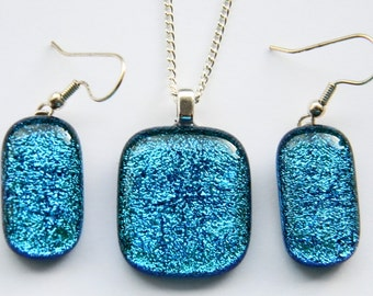 Handcrafted Dichroic Glass Pendant Necklace and Earring Set
