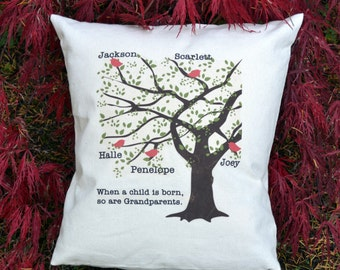 Mothers Day, Grandparents Gift, ruby anniversary, family reunion, 40th anniversary, Fathers gift, Family Tree, Birds pillow, red heart