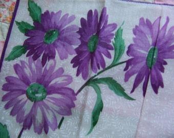 beautiful purple daisy vintage hanky