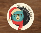 Christmas Address Label Sticker, Personalized Mailing Label, Gift Sticker - Polar Bear