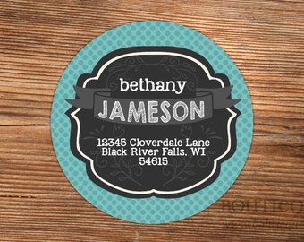Return Address Label Stickers - Swash and Banners - Choose your own colors