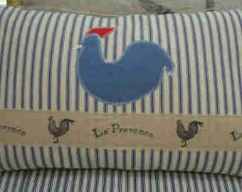 French BLuE TiCKinG Pillow FEATHER Down Chicken CoTTaGe SHaBBY CHiC 12 x 20 PiLLow