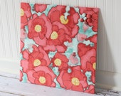 Fabric covered magnet board 16 inch x 16 inch covered in Poppies on Light Blue