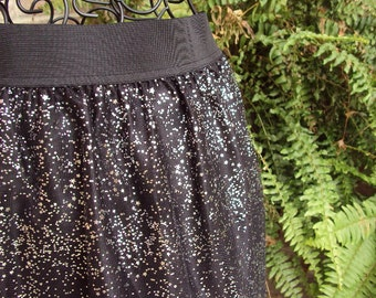 Girls Glitzy skirt-- wear for holiday parties--gathered skirt elastic waistband steampunk