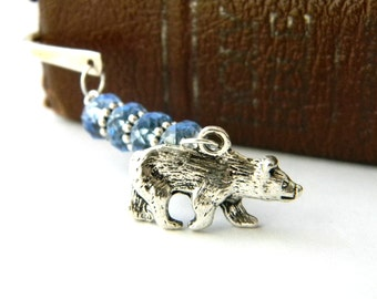 Bear Bookmark with Blue Glass Beads Silver Plated Steel Bookmark Wildlife Bookmark Shepherd Hook