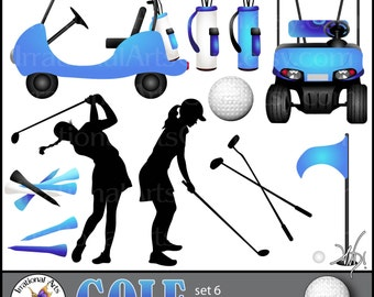GOLF Set 6 Blue - digital clipart graphics of 11 png files including 2 golf carts, silhouettes, clubs, etc {Instant Download}