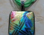 Fused Glass Pendant with Ribbon necklace: Directionally Challenged