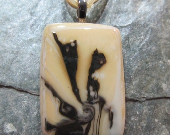 Fused Glass Pendant with ribbon necklace:  Emperor's New Groove