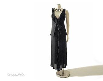 Yohji Yamamoto Dress – Vintage 90s Black Yoji Yamamoto Black Silk Chiffon 3 Piece Dress