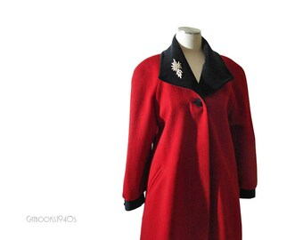 Vintage Cherry Red Coat with Black Velvet Trim Size - Small to Medium