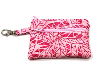 Small Zippered Wallet Change Purse Gadget Case  Pretty Pink Leaves