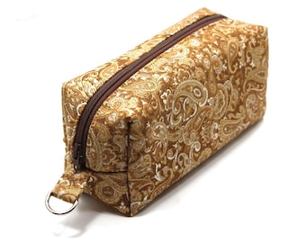Medium Zipper Box Pouch Project or Travel Case Gold Paisley