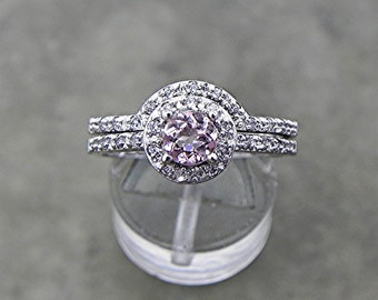 AAAA Pink Morganite   5mm  .51 Carats   in 14K white gold bridal set. 1813