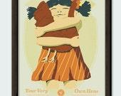 Girl Hearts Hen - 11x14 poster print