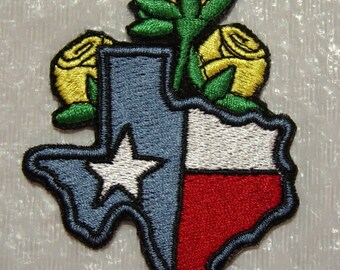 """Yellow Rose of TEXAS Iron on Patch - Applique -  3.25"""" X 2.5"""" - FREE Shipping"""