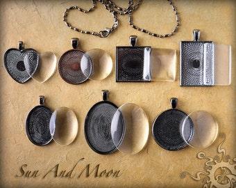 Custom Jewelry Settings ~ Gunmetal ~ 7 Sets ~ Bezel Trays, Chains, FX Glass Tiles ~SampleGlaze~ Photo Jewelry Pendant Setting DIY