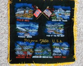 VINTAGE SOUVENIR PILLOW cover, Niagara Falls, made in Japan, velvet rayon, mid century decor