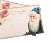 Santa Claus Gift Tags, Santa Glitter Beard, Old St Nick Post Card Tag, Party Favor Bag Tag, Old Santa Tag, Victorian Santa Tag