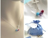 Gift For Mom • Side Cross Necklace with Birthstones • Mother's Day Gift • Personalized Custom Mother's Gift • Mother's Jewelry • Gemstones
