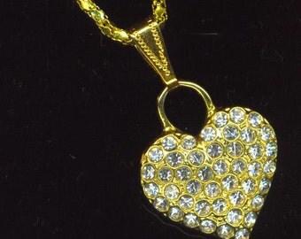 Vintage Heart Pendant . Pave-set crystal Rhinestone Heart . Gold Plated Pendant .Golden Valentine- Love and Romance by enchantedbeas on Etsy