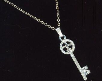 Silver Plated Rhinestone Fleur de Lys, Skeleton Key, Lilly Flower, Silver Plated Chain, Key to her Heart - Valentine's Day by enchantedbeas