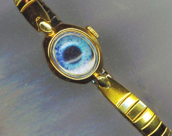 Blue Eye Steampunk Bracelet. Upcycled Vintage Watch Bracelet. Eye See You . Stretchy Band, Keep an Eye on Him/ Her , Halloween blue eye cuff