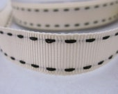5 metres Ivory and Black Stitched Grosgrain Ribbon