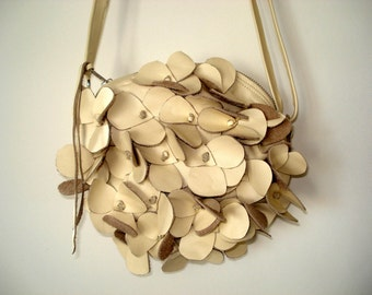 Handmade Hydrangea Bag in cream Leather