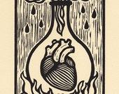 Ardor alchemical woodcut print 8 x 10