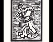 Aquarius Zodiac astrological woodcut print hand pulled print 6 x 5