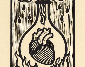 Ardor alchemical woodcut print 8 x 10