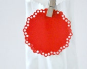 Festive Red Envelope Seals {10} Large Paper Doily Stickers for Holiday Gift Wrapping