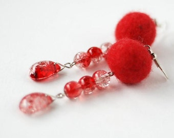 Red earrings- glass, wool beads Ready to ship