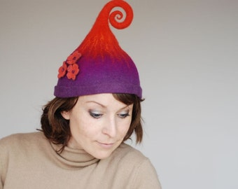 Good mood gnome elf fairy hat with three flowers MADE TO ORDER custom colors