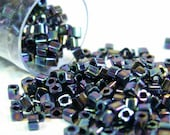 Oil Slick Rainbow Iris Metallic TOHO Cube Beads 1.5mm