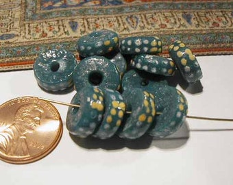 Recycled Glass Tradebeads - 12 Beads - Blue Yellow Disks - Ghana Africa - RCY1008 - African Trade Beads