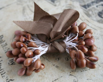 Mocha Double Ended Stamens - Fascinator Headband Floral Stamens - Millinery Wedding Supplies - Corsage and Boutonniere Wedding Supply