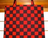 Vintage Kimono Fabric Checkerboard Plaid Flat Book Tote Bag
