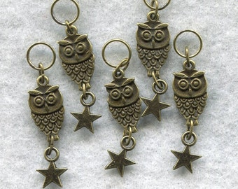 Owl Star Stitch Markers PhatFiber Theme Grimm's Fairy Tales Bronze Set of 5 /SM61B