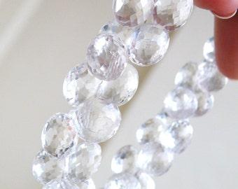 Rock Crystal Quartz Gemstone Briolette Faceted Onion 9mm 1/2 Strand 21 beads Wholesale A
