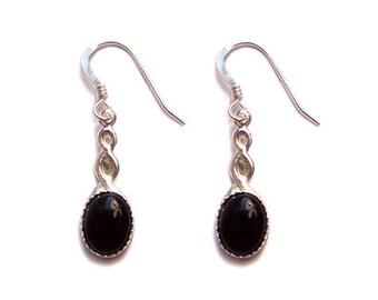 Black Onyx Sterling silver Celtic earrings - black gem stone gemstone earrings