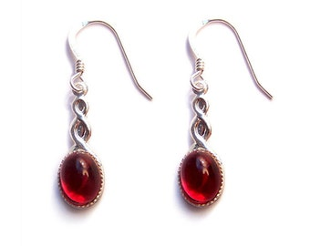 Sterling silver ruby red earrings Celtic Glittering Swarovski  - ruby red Swarovski crystal cabochon