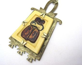 Vintage Tribal Pendant - Celluloid